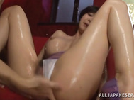 Sweet Japanese angel with superb tits and a lovely shaved cunt, Miki Ichiki, is close to orgasmic pleasures by having horny males playing nasty with huge vibrator over her creamy milf twat and ass.