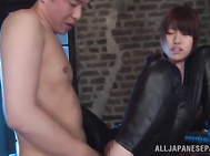 Then she rides the guy's dick and gets cumshot on her amazing jugs.