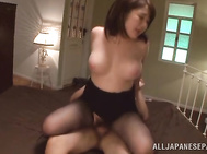 Then the guy rips her black pantyhose and fucks her mouth and her pussy mercilessly.