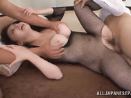 They take out their rods and fuck her tits and pussy extremely hard, delivering cumshot into her horny mouth.
