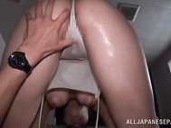 She looks so beautiful in her wet clothing, and the guy fills her mouth with his cock, and enjoys a perfect cock sucking action.