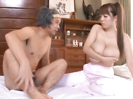 When you've got this big breasted MILF sucking you off, it's kind of hard to think of another place to shoot your load than on those enormous jugs Hitomi Tanaka has! While she's sucking this guy off, all he feels are her tits pressing against him.