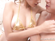 Busty angel in sexy lingerie Julia gets pleasure of a kinky sex action.