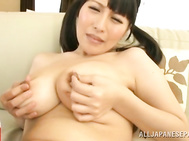 Yuuna Hoshisaki is tied so she can't move when she is with her horny guy and in a sexy costume! She has nice big tits, and her legs are spread so he can tease her with the dildo in her wet slit, and playing with her big tits is also on the agenda when he