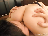 Busty Japanese porn model, Satomi Nagase, is more than eager to feel this stiff prick in each of her holes during sensual and hot Asian porn adventure.