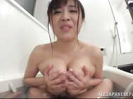 Breathtaking Asian seductress with lovely perfect melons Aoyama gets sexually satisfied in the bath tub.