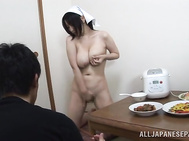 Naughty housewife Yuuna Hoshisaki seduces horny guy.