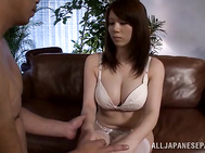 Busty Maki Koizumi gets deep fucked in her pussy.
