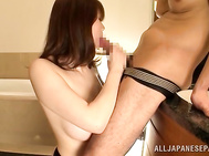 Superb hot milf Maki Koizumi gets hard fucked in the kitchen by male with a huge dick.