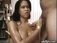 She made me come on her already oiled enormous boobs.