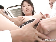 And when the guys surround her in order to involve into a hardcore sex game, she gets very pleased.