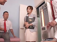 Fancy Asian teacher Minami Kojima enjoys a massive facial.