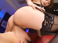From having his cock rubbed with her stocking covered foot to getting a lapdance with her in a thong, and then having her pussy in his face, this guy is fully under the spell of Akiho Yoshizawa.