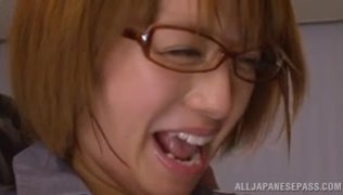 Sensual Japanese beauty Rika Hoshimi enjoys getting nailed by her horny colleagues at work, sucking their cocks and letting them deeply penetrate her juicy cunt after a great group oral session.