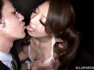 Very horny Japanese milf with fantastic body Erika Masujaku seduces two very horny mature guys.