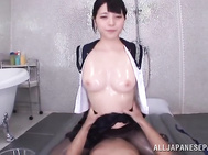 hot babe in school uniform amazes with her steamy cock sucking moment, wetting the dick well enough to perfectly slide her cramped Asian pussy in a superb Asian cock riding POV show.