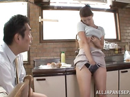 Juicy Japanese housewife with curvaceous body and amazing big boobs Arisa Niina demonstrates a kinky sex scene in front of her horny lover.