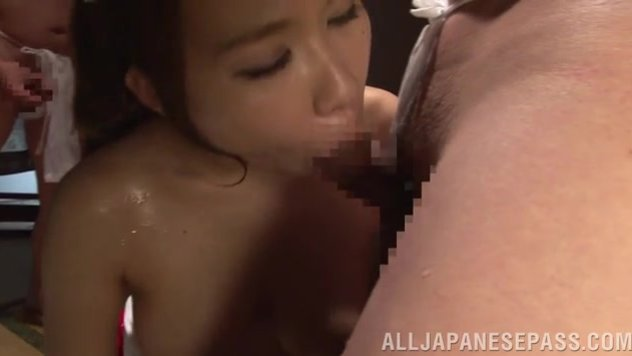 Gorgeous Japanese milf Iroha Suzumura stays topless in front of a group of her horny boyfriends, and entertains her lovers with perfect oral sessions.