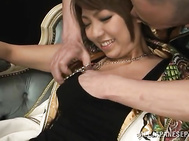 Young Japanese beauty, Hikari, receives a naughty toy to stimulate her wet pussy in this staggering Asian oral show.