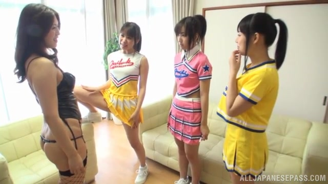 Asian teen Moe Kimishima and friends are having a blast in lesbian group action.