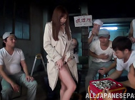 Awesome hottie Rina Itou strips in front of guys gets nailed hard.