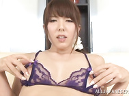 Awesome Japanese stunner Yui Hatano shows off her tough masturation.