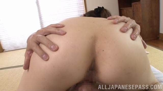 He gets his cock sucked and licks her lovely wet pussy, and then she gives him a hardcore cock ride, and gets her muff creamed.