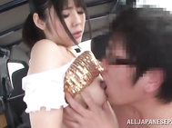Beautiful Japanese AV hottie Ruka Kanae enjoys car sex.