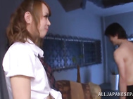 Blonde Japanese vixen Azumi gets a massive facial cumshot.