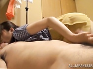 She gets her pussy creamed in a doggy style fucking after giving a little hand work to her horny guy while making this hot porn video!.