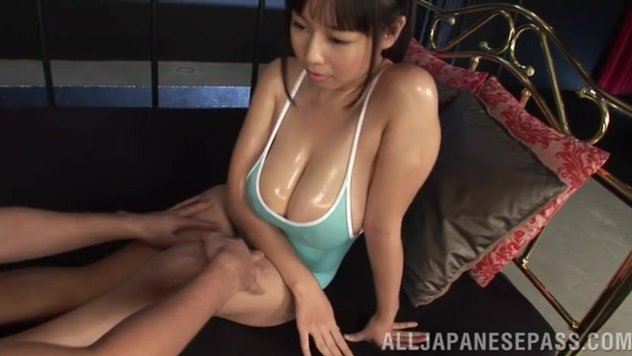 Busty angel Shiori Tsukada gets oiled and enjoys tits and pussy fucking.