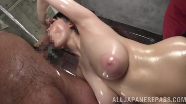 It is a real pleasure to play with her fantastic curvy body, and he takes out his dong and fucks her big boobs and then her pussy, and cums into her open mouth.