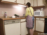 Busty housewife Maika Kazane gets her big tits squeezed and licked.