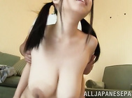 She gets a cover on her eyes, and the guy touches her boobs with a dildo dong, and then with his own dick and the hot sex doll gives one nice ride, and her horny lover enjoys it!.