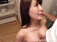 Stunning Japanese mature hottie Yuka Kitsu has lovely big tits, and her lover adores teasing them.