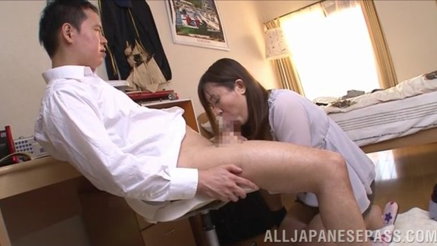 Kinky Japanese milf with big juicy tits Aoyama Nana is in mod to give her lover a cute hand work, and the skillful hottie takes the guy's dick in her hands and stimulates it in a proper way, and then she takes his cock in mouth, giving it some kinky oral
