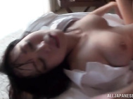 She gets fucked doggy-style and after that gives a hot ride and swallows cum.