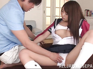 Sugary Japanese teen babe in school uniform Maya Hashimoto has steaming sex with her boyfriends after classes.