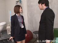 Charming office lady Sari Kawai seduced her colleague fucks hin hard.
