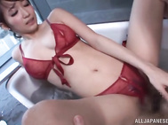 Insatiable babe gives a steamy hot blowjob before having her delicious pussy slammed hard by his strong cock in her sexy lingerie.