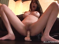 She licks it in ecstasy before lancing her horny soaking pussy with this sex tool, and arranges hardcore toy riding action, performing a super hot solo masturbation and moaning from pleasure.