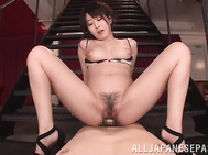 Enjoy beautiful Japanese babe cock sucking with lust before getting on top and riding the dick in serious POV style.
