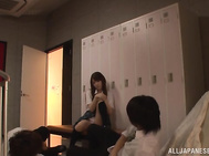 Cosplay sex lover Tsukasa Aoi shows a group strip tease action.