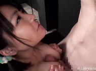 Amazing babe with impressive pair of tits, Kazari Harusaki, starts dealing this dick between her lips, sucking it in a sexy blowjob session and moaning in the same time, pleasing the guy with extreme oral combined with hot titfuck, all in advance for him