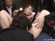 Cute milf Hatano banged in steamy foursome.