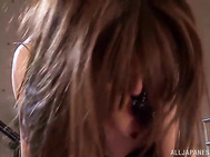 They fuck her hairy pussy with their naughty fingers and make rough headfuck, and the experienced vixen rides their horny cocks extremely hard after giving a hot blowjob in group sex scene!.