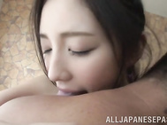Flawless Asian hottie Erika Momotani enjoys every inch of cock in pussy.