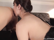 First she touches it with her sexy feet and then takes it in her skillful hands giving a hand work, and also licks ass of her lover to make him wild.
