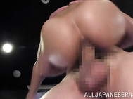 The guys pinch her nipples and fondle her lovely milking boobs, and she gives them the best ever cock ride in this nasty threesome porn show.