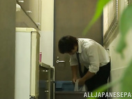 Gorgeous Japanese office lady Hibiki Ootsuki banged in her office.
